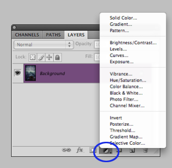Photoshop Adjustment Layer menu