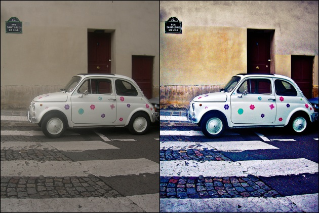 A before and after comparison between two versions of the same photo of a car sitting on a zebra crossing in Paris, one with dull colours and the other with vibrant blues and yellows. The car has flowers on.