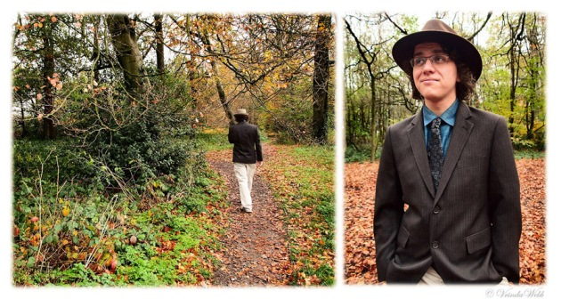 Two photos of Dayal in the autumn woods, one of him walking and one with him standing with a quizzical expression.
