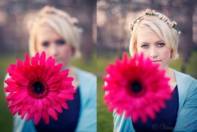Diptych of a blonde girl holding a pink flower with a focus pull