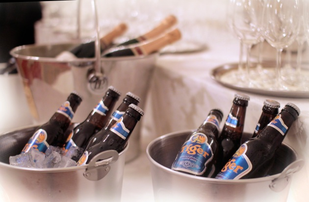 champagne and Tiger beer for a gala in the Mandarin Oriental Hotel, Knightsbridge, London