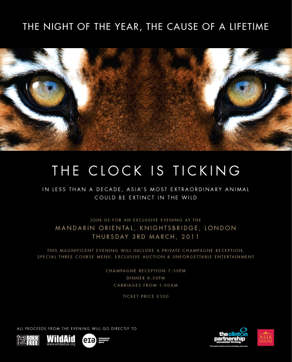 London, Knightsbridge Wildaid tiger gala event PR leaflet