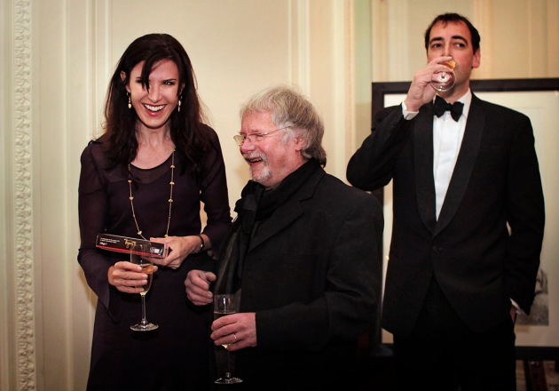 Ronni Ancona laughing with Bill Oddie while Alistair McGowen sips champagne at the Tiger Gala