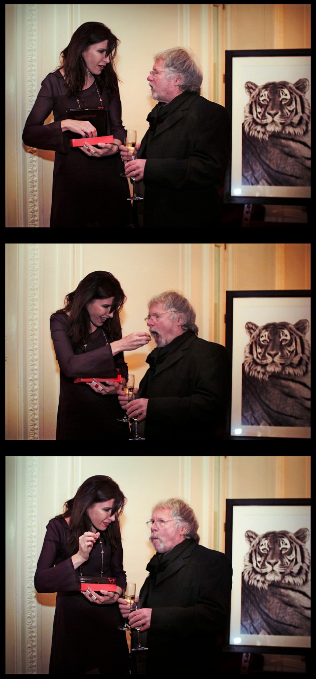 Ronni Ancona feeding Bill Oddie chocolates at the Tiger Gala, Knightsbridge