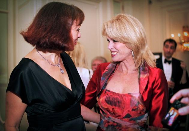 Joanna Lumley greeting a friend at the Tiger Gala, Knightsbridge