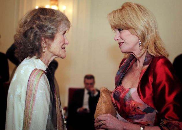 Joanna Lumley greeting her friend Virginia McKenna at the Tiger Gala in Knightsbridge