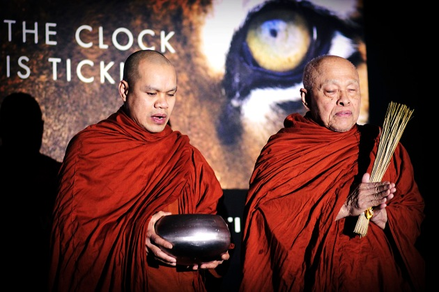 Two Buddhist monks blessing the start of the Tiger Gala events