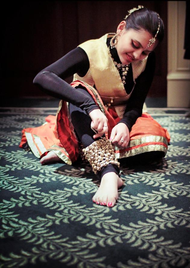 A baranatyam dancer preparing for her dance at the Tiger Gala, Knightsbridge