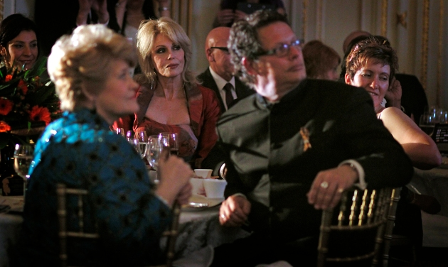 Joanna Lumley, Will Travers and audience watching performance at Tiger Gala, London