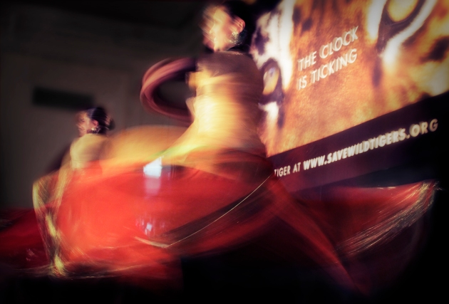 Katak dancers swirling on stage at the Mandarin Oriental Hotel for the Tiger Gala