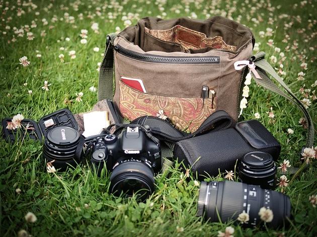 Porteen Gear camera bag with 550D dSLR, 580 EX II, 85mm, 50mm