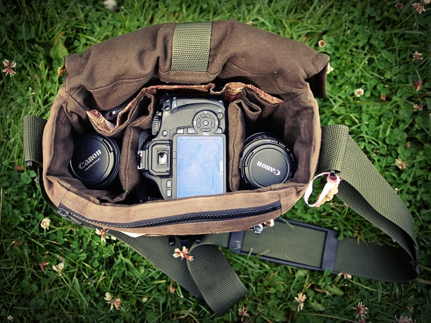 Porteen Gear camera bag loaded with 500D Canon dSLR and lenses