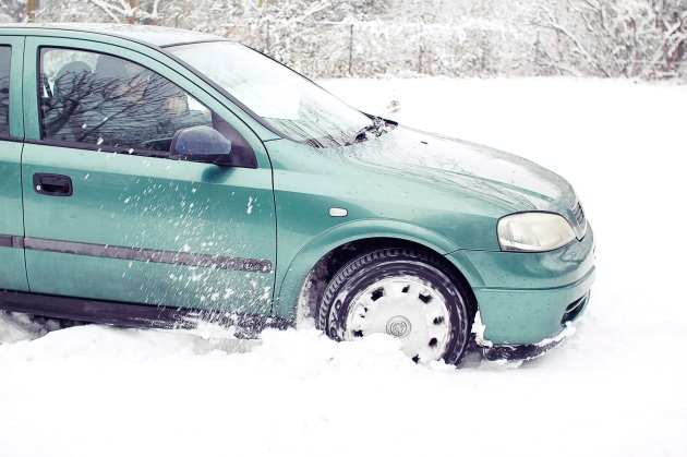 Vauxhall Astra stuck in snow