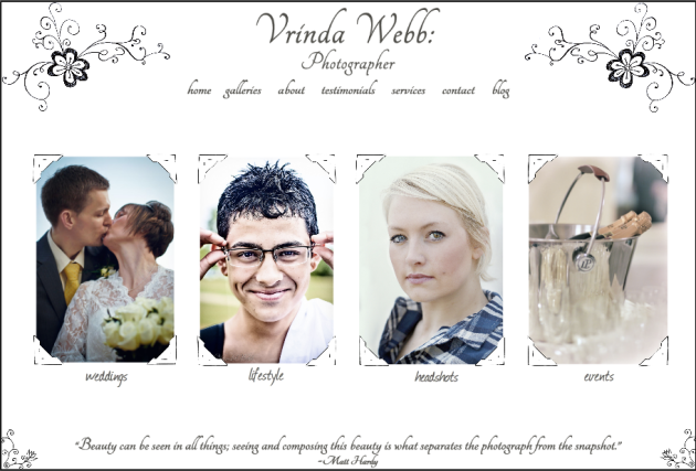 screenshot of http://vrindawebb.com