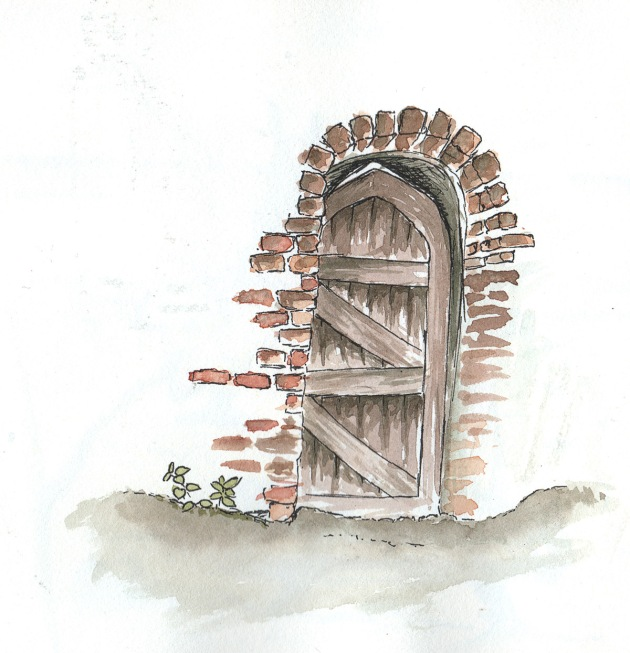 Watercolour and ink drawing of door in Vintry gardens, St Albans