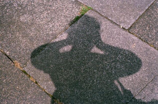 Shadow on pavement, expired Fujifilm, taken with Pentax K1000