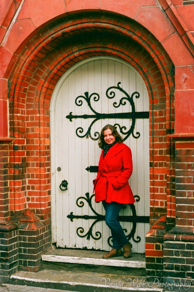 Vrinda in doorway in Brighton