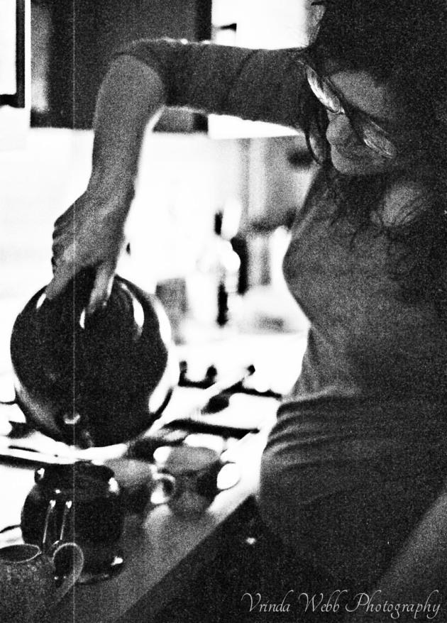 Becky making tea